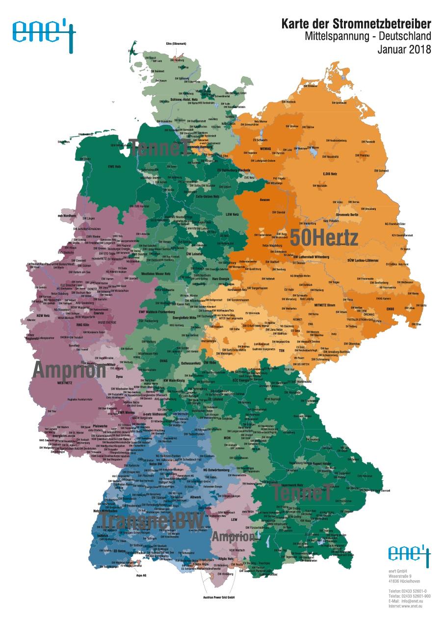 Karte der Stromnetzbetreiber Mittelspannung 2018