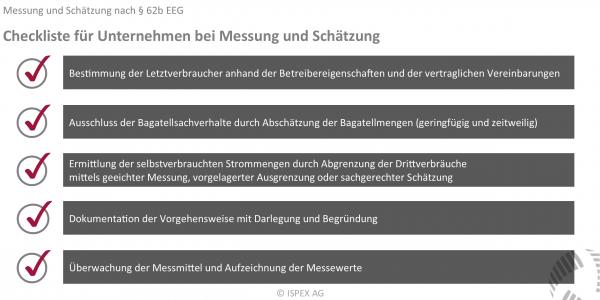 BesAR, Messung, Schätzung, Abgrenzung, selbstverbrauchte Strommengen, § 62b EEG