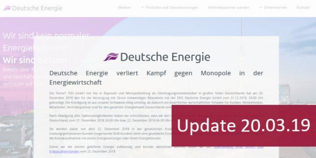DEG Deutsche Energie GmbH versendet Schlussrechnungen